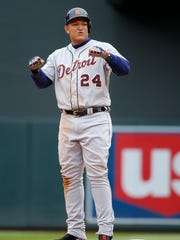 Detroit Tigers' Miguel Cabrera (24) reacts after making