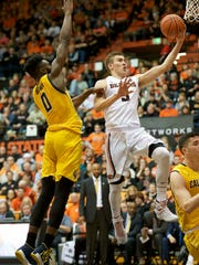 Sophomore forward Tres Tinkle is OSU's leading scorer
