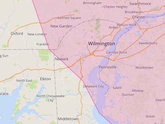 This map on Lyft's website shows the ride-sharing company's current service area in Delaware. DelDOT officials, however, say those operations are illegal.