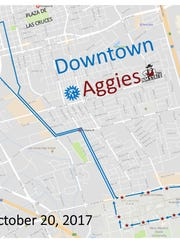 Route for Friday's free Downtown Aggies pep rally on the Plaza de Las Cruces