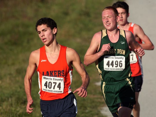 Mountain Lakes Mark Cappuccitti during the Northwest Jersey Athletic Conference varsity small school boys cross country championships at Greystone Park. October 20, 2015, Morris Plains, NJ