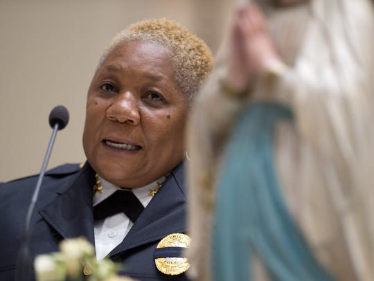 Fort Pierce Police Chief Diane Hobley-Burney speaks
