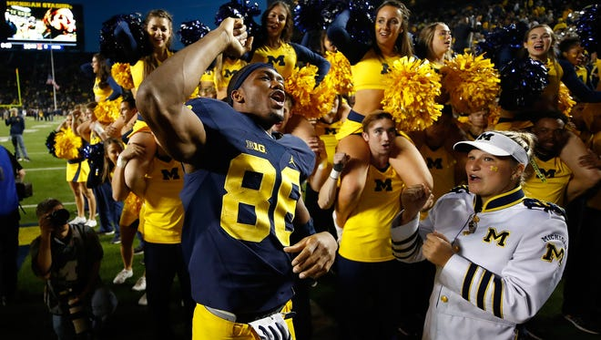 Jehu Chesson of the Michigan Wolverines celebrates a 59-3 win over the Maryland Terrapins on Nov. 5, 2016, at Michigan Stadium in Ann Arbor.