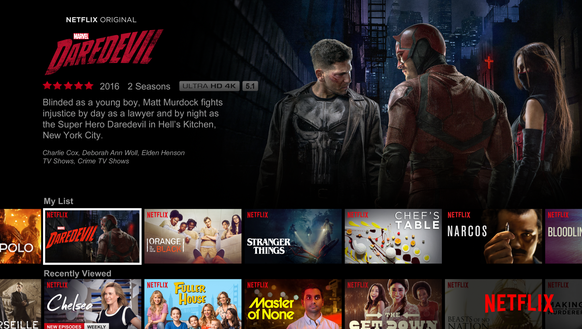 The Netflix user interface.