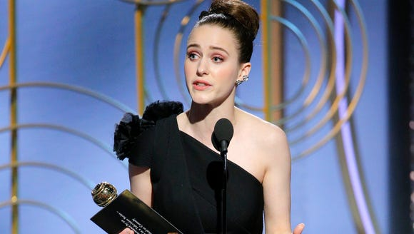 Rachel Brosnahan accepts her Golden Globe for best