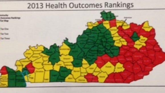 Health outcomes in Kentucky. Courtesy Hayslett Group LLC and Kentucky Public Health Association.