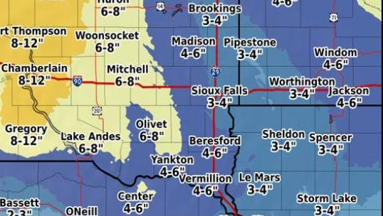 Snowfall projections from the NWS