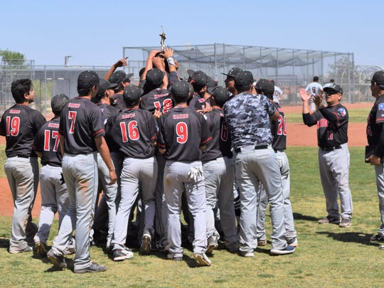 The Hanks Knights hoist another bidistrict trophy on Saturday afternoon at George Hodge Field. This is the Knights' fourth consecutive bidistrict title.