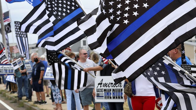 Supporters of local law enforcement gathered in Hingham to show support of police officers on Sunday August 16, 2020 Greg Derr/The Patriot Ledger