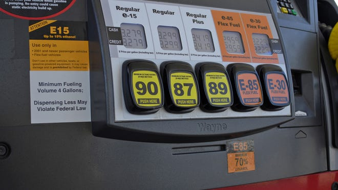 This July 11, 2012, handout photo provided by the Renewable Fuels Association shows a Lawrence, Kan., fueling station pump with various grades of fuel, including E15.