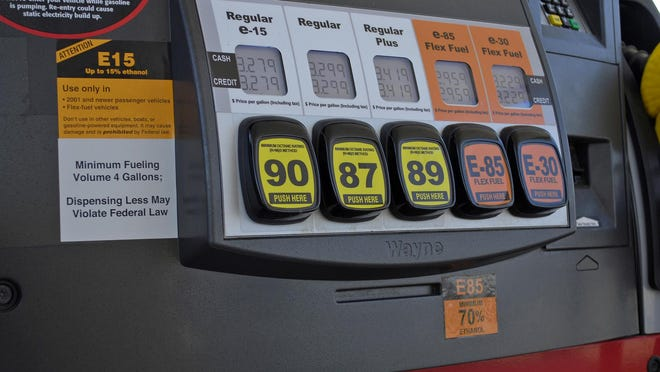 Robert White, APA Lawrence, Kansas, fueling station pump with various grades of fuel, including E15. A Lawrence, Kansas, fueling station pump with various grades of fuel, including E15