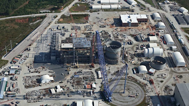 This Sept. 18, 2017 photo shows the partially built V.C. Summer Nuclear Generating Station near Jenkinsville, S.C. On Wednesday, Sept. 27, 2017, the boards of state-owned Santee Cooper and the private South Carolina Electric & Gas approved the sale of their share of a $2.2 billion, five-year settlement over the failed nuclear project so that they can recover nearly 92 percent of the cash immediately.