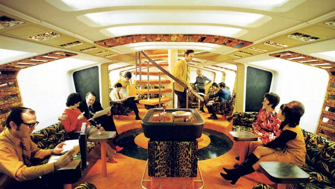 """Boeing 747 first-class """"Tiger Lounge"""" bar from the 1970s."""