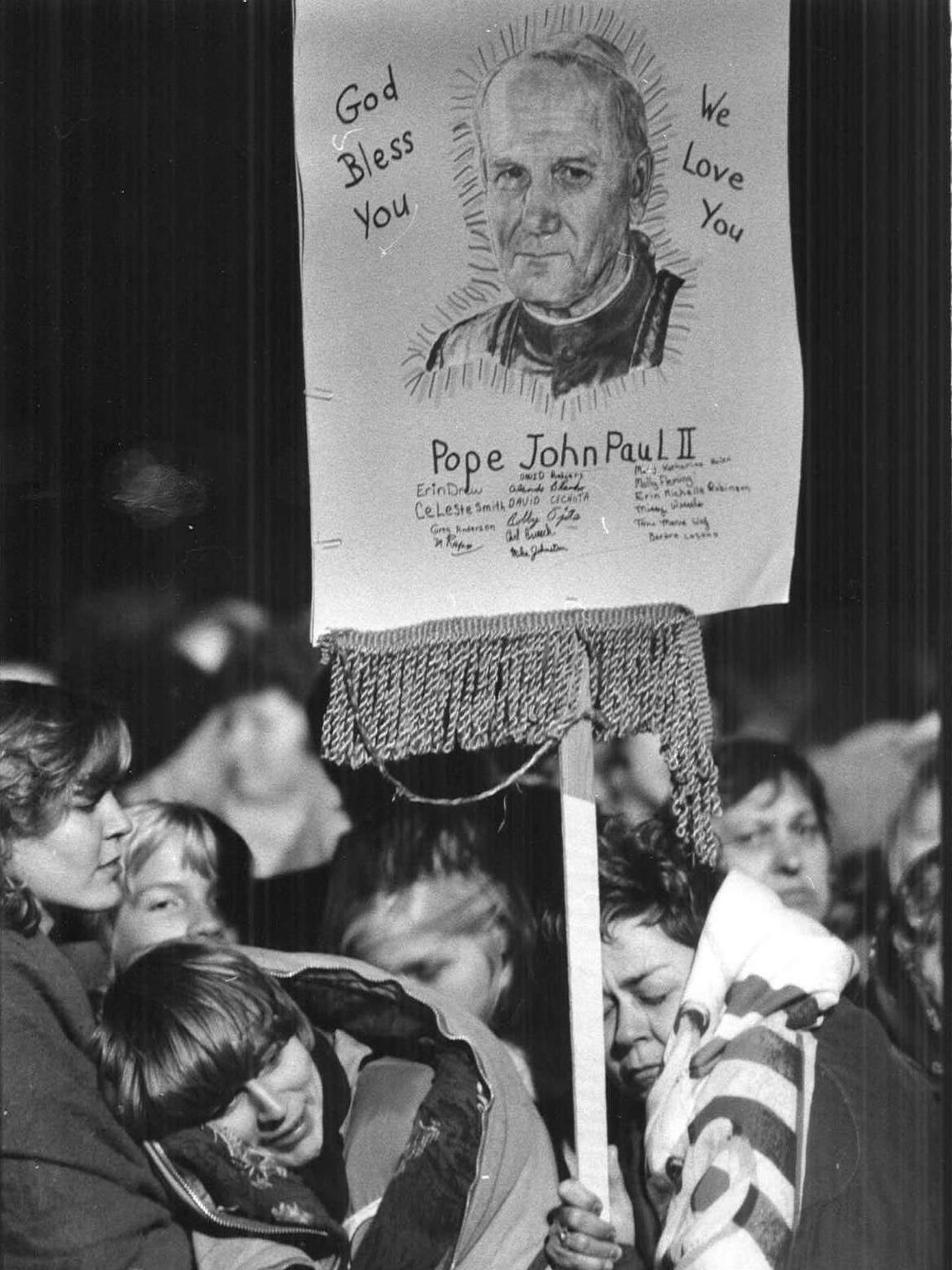 "The crowd of 350,000 included people of many faiths. All celebrated Pope John Paul II during his visit on Oct. 4, 1979. A sign near the event said in bold letters: ""Lutherans Love The Pope Too!"""