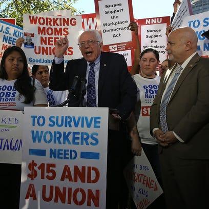 Sen. Bernie Sanders, I-Vt., speaks during a news conference