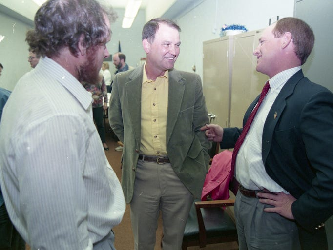 Bob Miller, right, the Democratic nominee for Tippecanoe County sheriff, awaited election results at Democratic Headquarters with Lafayette police chief Tom Leach, center, and Keith Upton, husband of clerk candidate Judith Upton. Photo taken May 5, 1994.
