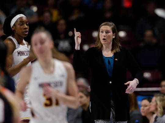 First-year Minnesota coach Lindsay Whalen gestures during the team's Jan. 6 game against Illinois in Minneapolis.