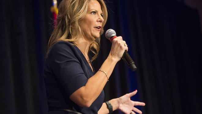 Kelli Ward speaks to supporters during a Senate campaign kickoff event at the Hilton Scottsdale Resort on Oct. 17, 2017.