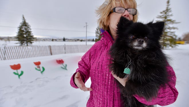 Bonnie Jorgensen, with her dog Chico, talks about painting flowers in a snow berm at Jaycee Park. She likes to look at them from her home across the street as she eagerly awaits spring.