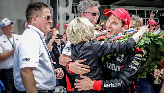 Indy 500 winner Will Power is greeted in Victory Lane by friends, family, and team members after the 102nd running of the Indy 500 at Indianapolis Motor Speedway on Sunday, May 27, 2018.