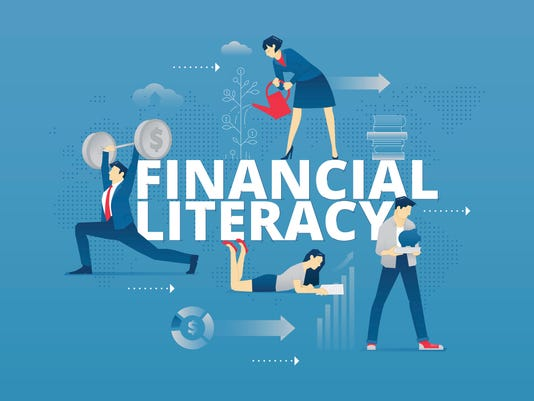 Financial literacy typographic poster