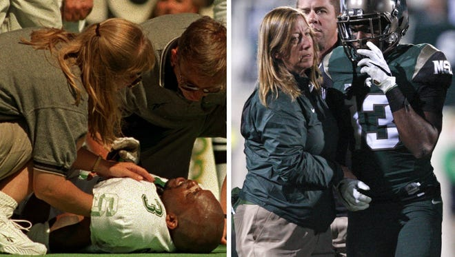 Former MSU cornerback Amp Campbell, left, knows what Vayante Copeland, right, will endure in his return from a broken neck. Both suffered similar injuries — both against Oregon — 17 years apart. Both were helped off the field by Dr. Sally Nogle.