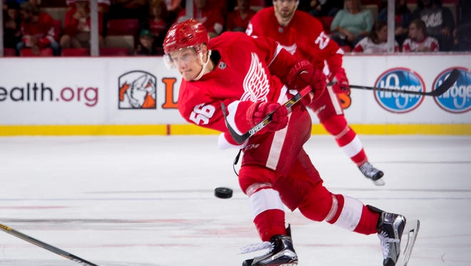 Forward Teemu Pulkkinen, shown here during an exhibition game, scored a pair of third-period goals Saturday against the Carolina Hurricanes.