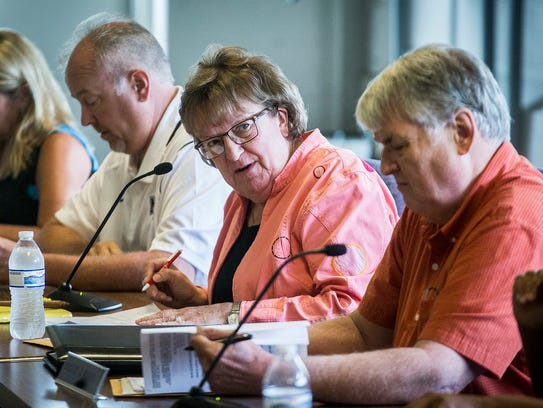 Debbie Feick during a school board meeting at the Muncie
