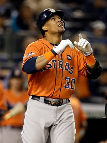 Carlos Gomez gave the Astros a 2-0 lead in the fourth