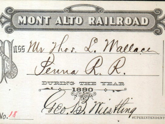 A Mont Alto Railroad pass from 1890, signed by George