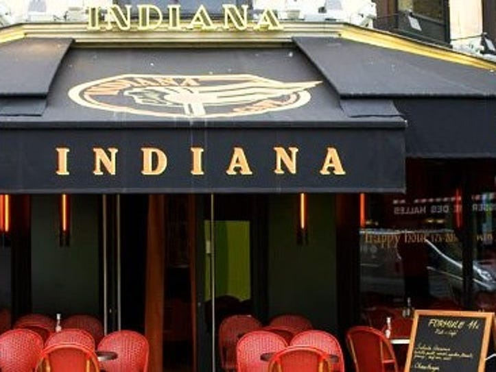 One of several Indiana Cafe locations in Paris, France.