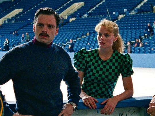 "This image released by Neon shows Sebastian Stan as Jeff Gillooly, from left, Margot Robbie as Tonya Harding and Julianne Nicholson as Diane Rawlinson in a scene from ""I, Tonya."" Robbie was nominated for an Oscar for best actress on Tuesday, Jan. 23, 2018. The 90th Oscars will air live on ABC on Sunday, March 4. (Neon via AP)"
