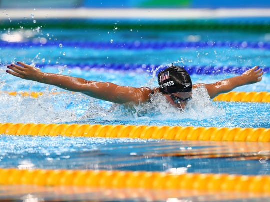 Hali Flickinger of Spring Grove competes during a women's 200-meter butterfly semifinal in the Rio 2016 Summer Olympic Games at Olympic Aquatics Stadium.