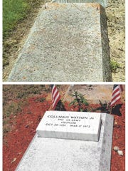 Columbus Watson's grave before and after refurbishment.