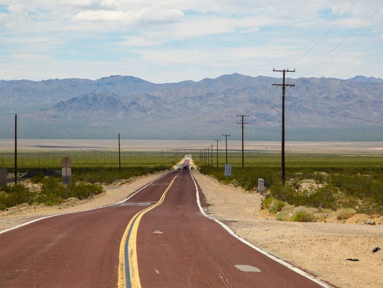 Nipton Road heads west out of Nipton, Calif., Wednesday,