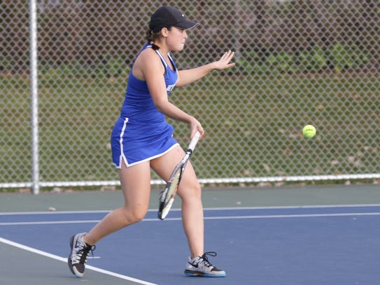 Meredith Braiman of Horseheads returns a shot during