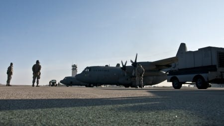 C-130H Hercules from the 179th Airlift Wing leave for deployment overseas from Mansfield, Ohio, Feb. 27, 2016. The Ohio Air National Guard unit is sending aircrew and operations support as well as maintenance personnel to support their aircraft. The Ohio Air National Guard is always on mission to respond with highly qualified citizen airmen to execute federal, state and community missions.