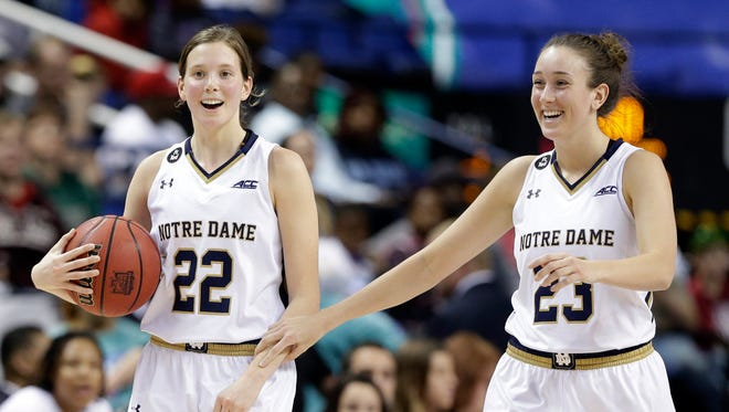 Notre Dame's Madison Cable (22) and Michaela Mabrey (23) celebrate during the second half of an NCAA college basketball game against Miami in the Atlantic Coast Conference tournament in Greensboro, N.C., Saturday, March 5, 2016. Notre Dame won 78-67.