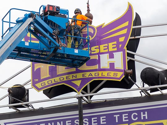 A new video board is being installed at Tennessee Tech's Tucker Stadium.