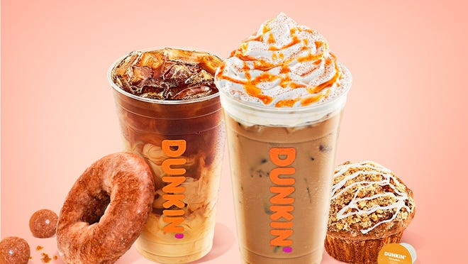 Dunkin' Donuts' lineup of pumpkin-spiced drinks and baked goods will be available starting Aug. 19 at all shops.