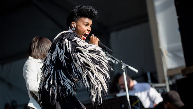 Janelle Monae performs on stage at the New Orleans Jazz & Heritage Festival on Friday.