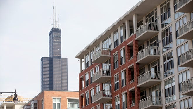 The Willis Tower, formerly known as the Sears Tower, dominates the southern end of the downtown skyline on March 4, 2015 in Chicago, Illinois.