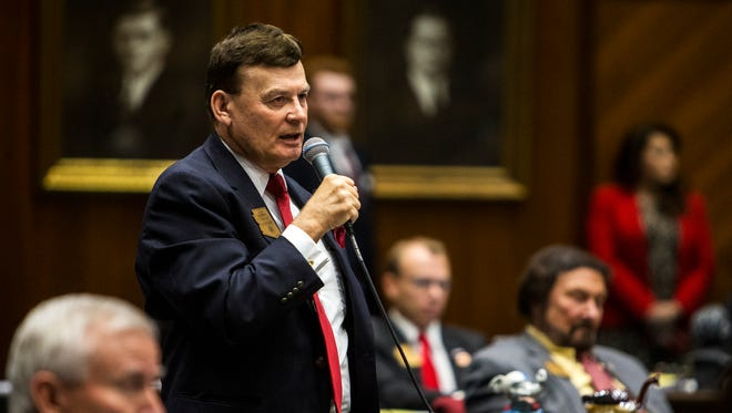 "Rep. David Stringer explains his ""no"" vote during a vote on whether to remove Rep. Don Shooter from office on Feb. 1, 2018, at the Arizona House of Representatives chambers in Phoenix."