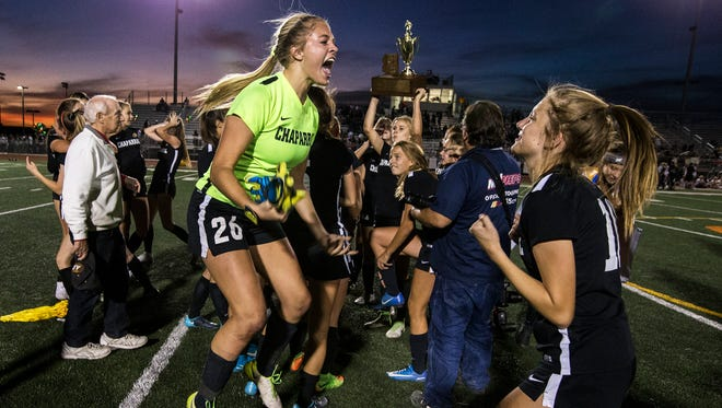 Chaparral celebrates after defeating Notre Dame for the 5A Girls Soccer State Championship on Saturday, Feb. 10, 2018 at Campo Verde High School in Gilbert, Ariz. Chaparral won, 3-2 in extra time.