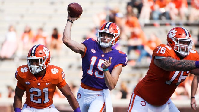 Clemson quarterback Hunter Johnson (15) throws the ball during the 2018 spring football game on Saturday, April 14, 2018.