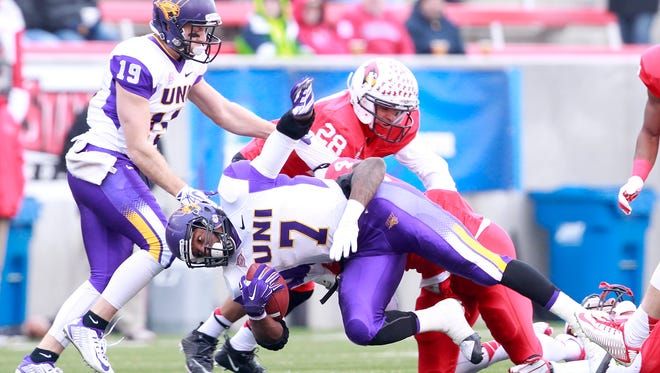 Northern Iowa's David Johnson is tackled for a loss in the second quarter against Illinois State on Saturday. The running back's collegiate career came to an end in a 41-21 loss to the Redbirds in the second round of the FCS playoffs.