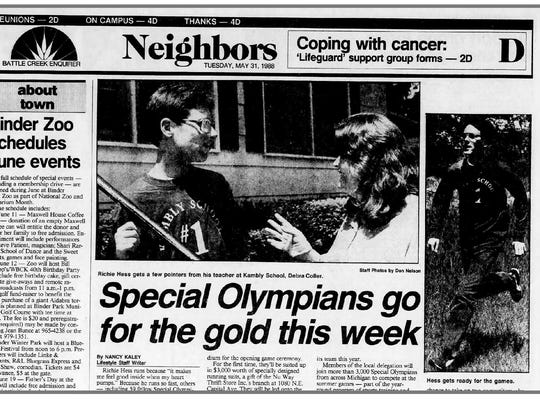 Richie Hess and Debra Coller of the Kambly Living Center are featured in this Battle Creek Enquirer article from May 31, 1988.