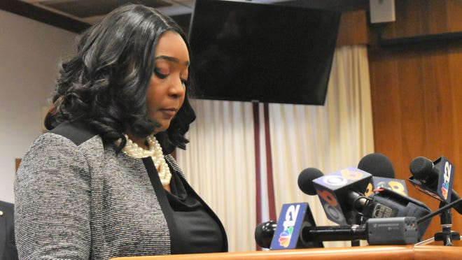 Former Hopewell Mayor Jasmine E. Gore is shown in this 2019 photo at a news conference in Hopewell. Gore announced on Facebook this week that she is gathering signatures on a petition to run for the 62nd House of Delegate District Democratic nomination.