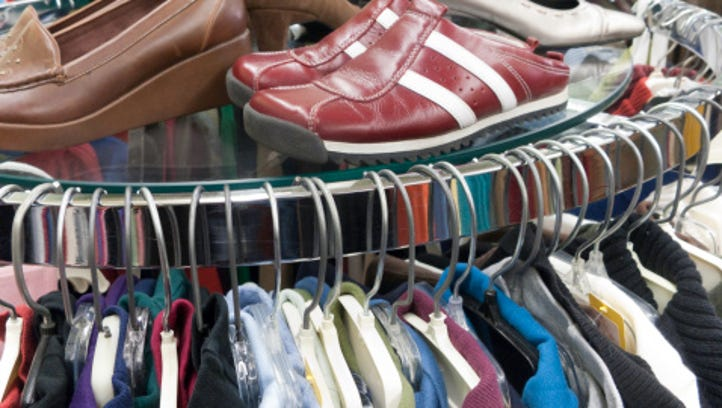 Used Clothes and Shoes at Thrift Store