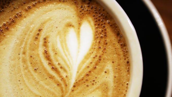 A heart design in a latte.